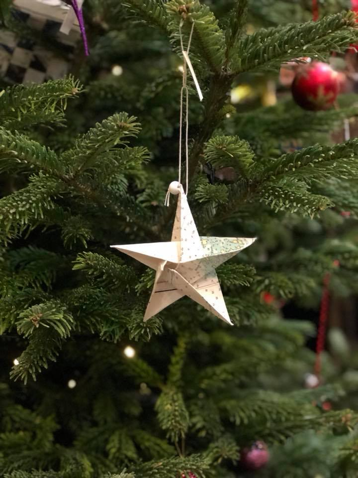 stjerne af søkort, julepynt, recycle, upcycle, old seamaps, genbrug, det gamle værft, ærø