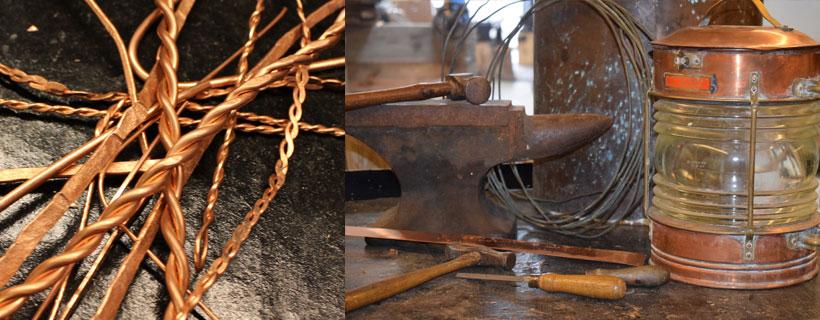 håndværk,håndsmedet søm, spir, gamle søm, kobber,
