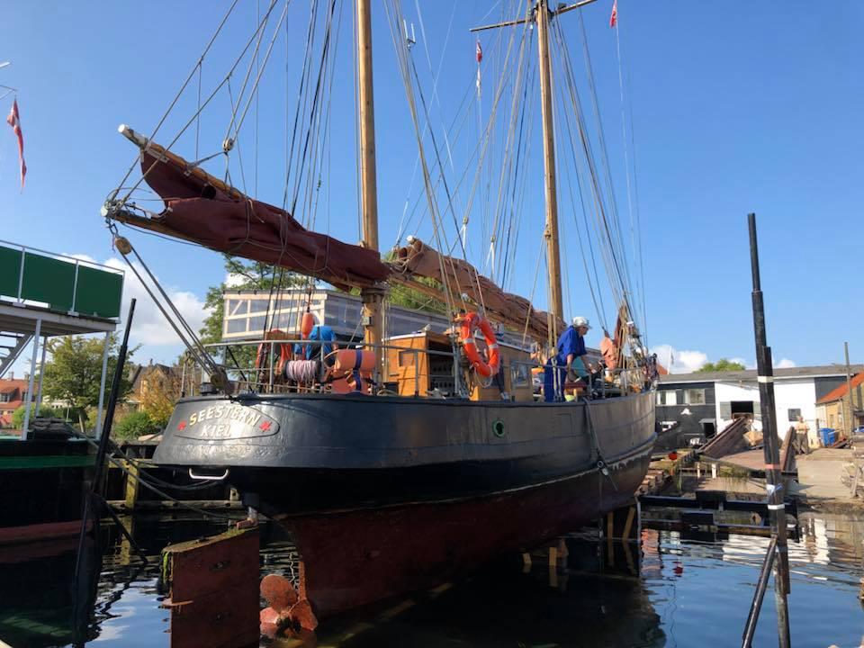 bedding, skib, det gamle værft, udendørs, slip, helling